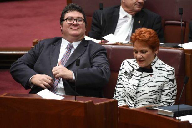 George Christensen and his mate, Pauline Hanson [photo: AAP Mick Tsikas]